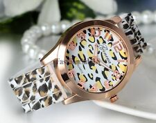 Women's Sexy Leopard Printed Silicone Rubber Band Quartz Movement Wrist Watch