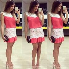 Fashion Women Mini Dress Crochet Lace Pleated Hem Side Zipper Crew Neck Dress NT