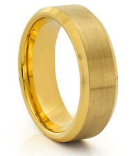 8MM Tungsten Mens Brushed & Polished Gold Wedding Band Ring