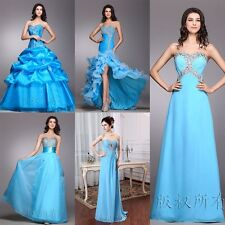 Wedding Bridal Bridesmaid Formal Long Debutante Evening Prom Gown Blue Dress
