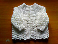 Handmade Crocheted Unisex Baby DK Matinee Coat/Jacket/Cardigan various colours