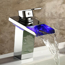 Chrome Led Brass Waterfall Bathroom Sink Faucet Single Handle Water Mixer Tap