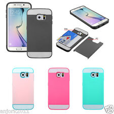 Hybrid Dual Layer Case w/Card Holder Cover for Samsung Galaxy S6 / S6 Edge