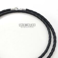 Sterling Silver 3mm Black Round Braided Genuine Leather Cord Necklace - Lobster
