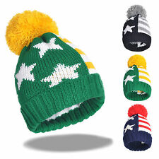 Men Winter Cuff Stocking Beanie Pom Cap Thick Knit US Stripe Star Skull Ski Hat