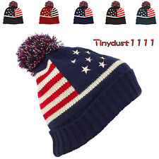 Mens Winter Cuff Stocking Beanie Pom Cap Thick Knit Stripes Stars Skull Ski Hat