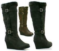 Ladies Womens Knee High Wedge Boots Fully Fur Lined Buckle New Shoe Size