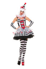 Sexy Starline Cinched Harlequin Clown White & Black Dress 5pc Costume #S5103