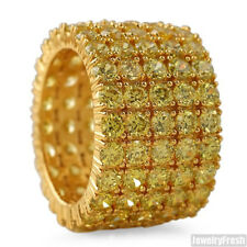 18k Finish Canary 5 Row CZ Iced Out Large Gold Eternity Ring Band