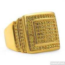 Gold Mens CZ  Ring Canary Yellow Flawless Hand Set
