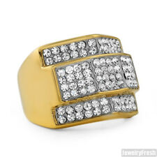 14K Gold IP Czech Crystal Large Mens Chunky Ring