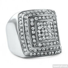 Large Stainless Steel Jumbo Square Bling Silver Mens Ring