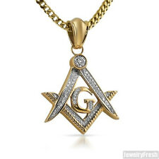 14K Gold IP Iced Out Masonic Freemason Pendant With Chain