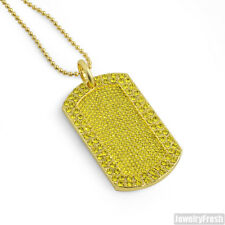 Canary Gold Fully Iced Out Hip Hop Dogtag Necklace Set