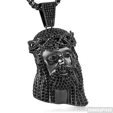 Black 3D Heavy Jesus Piece Pendant Iced Out Flawless