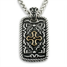 Intricate Cross Dogtag Oxidized Silver Steel Pendant Necklace Set