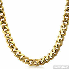 10mm 14k Gold IP Stainless Steel Mens Cuban Chain