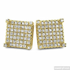 CZ Full Iced Out Cube Mens Gold Stud Earrings Flawless