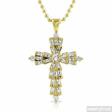 Fancy Baguette Cut CZ Mini Gold Cross Pendant Chain