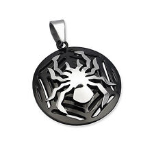 Silver Stainless Steel Spider Web Black Pendant