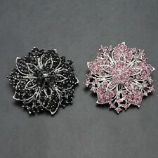 Women Silver Brooch Pin Rhinestone Crystal Flower Pin Wedding Clothes Decor