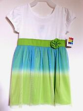 Girls Dress White Blue Green Baby Toddler Mesh Skirt Short Sleeve Floral Waist