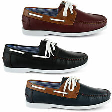 MENS LEATHER LACE UP DECK BOAT CASUAL SHOES UK SIZE 7 8 9 10 11