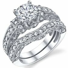 1.25 Carat Solid Sterling Silver Wedding Engagement Ring Set, Bridal Ring, with