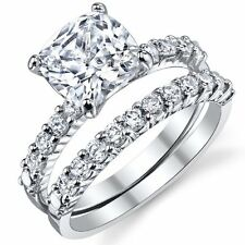 Fabulous Cushion Cut Cubic Zirconia Sterling Silver 925 Wedding Engagement Ring