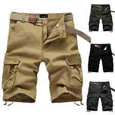 Mens Cotton Army Casual Trousers Camo Combat Cargo Pants Work Shorts 30-40