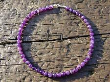 Amethyst Natural Gemstone Necklace 8mm Beaded Silver 16-30inch Healing Chakra