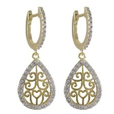 Womens Sterling Silver Cubic Zirconia Filigree Teardrop Dangle Earrings