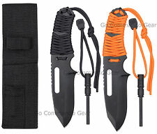 Stainless Steel Paracord Wrap Survival Knife w/ Fire Starter - Black or Orange