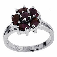 ".925 Sterling Silver 1.45 Ct Natural Red Ruby ""Flower"" Ring"