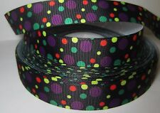"GROSGRAIN HALLOWEEN POLKA DOT COLORS 7/8"" INCH RIBBON 1, 3, 5 YDS**SHIPS FREE*"