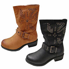 Womens New Faux Suede Leather Studded Buckle Ladies Mid Calf Boots
