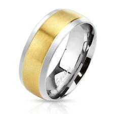 A Stainless Steel Unisex Ring 0.0295in wide silver gold brushed Edge 2-Tone Band