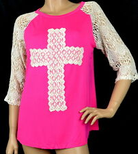 Lace Cross-Raglan Lace Sleeves Shirt Top - Pink Ivory S-M-L-XL-2XL