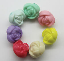 Wholesale 30/100pcs Mixed candy colors flowers acrylic Charm Beads 10x10mm
