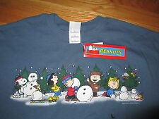 Peanuts SNOOPY & WOODSTOCK and Gang CHRISTMAS (LG) T-Shirt Charlie Brown Lucy TG