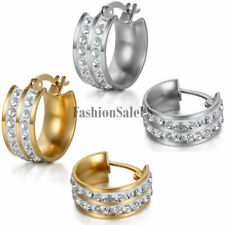 Men's Womens Unisex Stainless Steel Double Rhinestone Charm Huggie Hoop Earrings