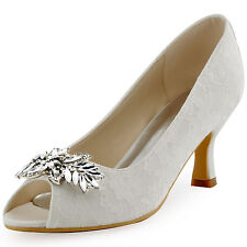 HP1538 Ivory 2.5'' Heels Women Peep Toe  Pumps Crystal Lace Bridal Party Shoes