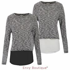 NEW WOMENS LADIES LAYERED KNIT CHIFFON DOUBLE BREASTED BACK JUMPER PULLOVER