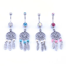 DREAM CATCHER Navel Dangle Belly Ring Barbell Button Bar Double Gem Crystal