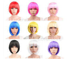 Womens Lady Short Straight Hair Fashion Full Wigs Cosplay Party Bob Wigs+Cap