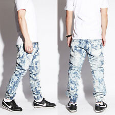Mens acid wash denim joggers pants slim skinny fit distressed