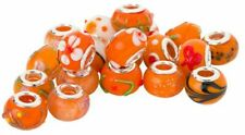 5 - 100pcs  ORANGE WHOLESALE CHARMS SILVER BEADS BRACELETS Murano Lampwork Glass