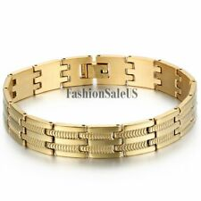 Men's Wide Silver Gold Tone Stainless Steel Bracelet Charm Chain Link Wristband