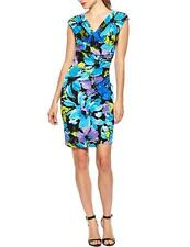 Evan Picone Floral Print Side Shirred Jersey Dress Women's sizes 8 10 12 14