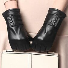 Full Size New Black Women Winter Warm Driving Genuine Lambskin Leather Gloves